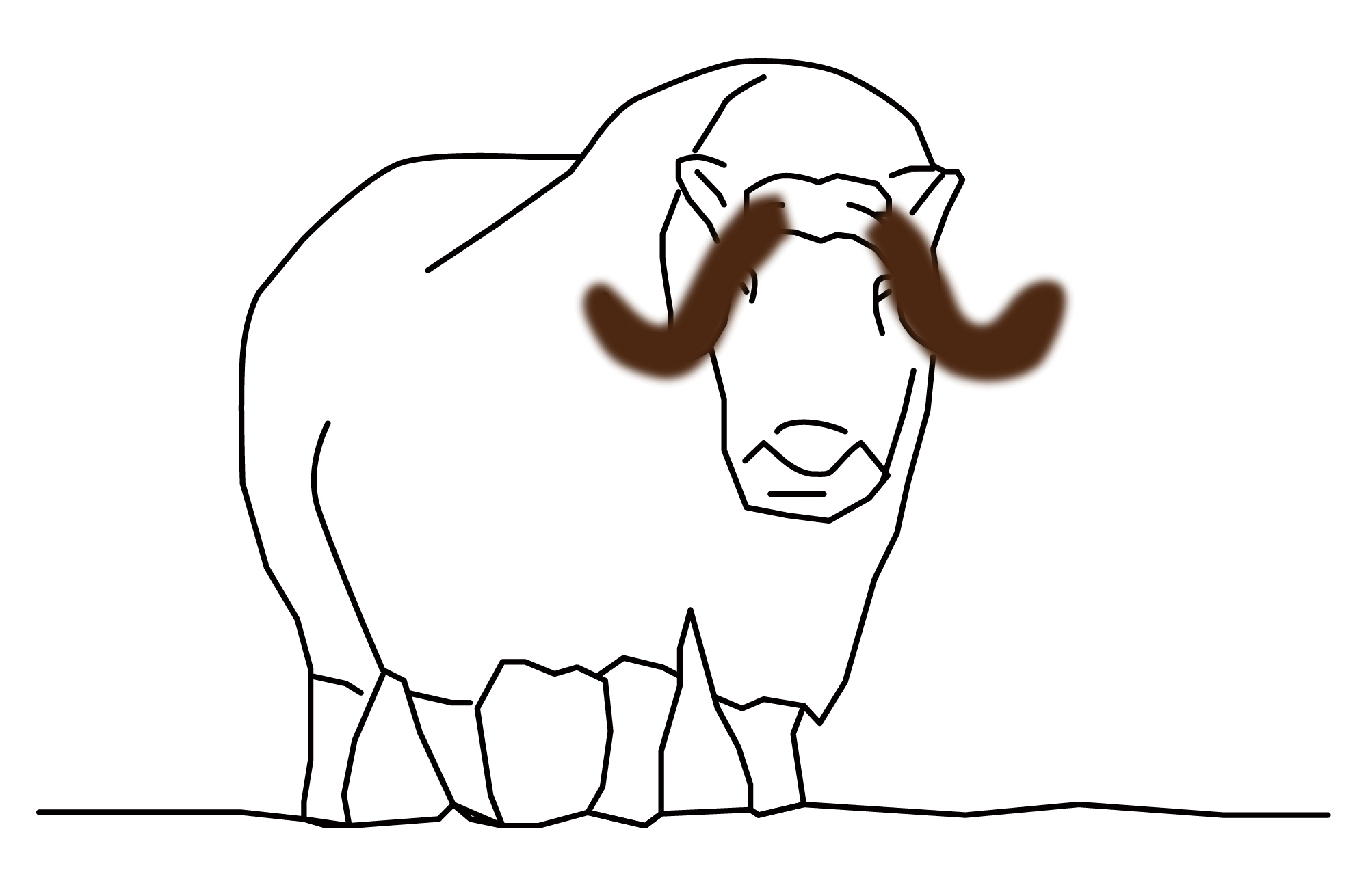 Image:<p>Drawing for 'Kitting horn cover for a muskox', 2020</p>